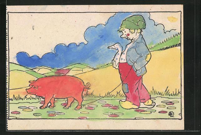 Ausmal-AK Hans im Glück mit Schwein und Gans
