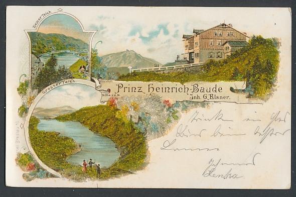 Glitzer-Perl-AK Prinz Heinrich-Baude mit Glitzer-Perlen, Grosser Teich