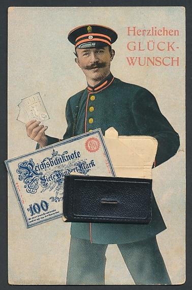 Leporello-AK Briefträger mit Neujahrsgrüssen in der Posttasche