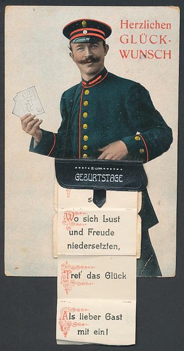 Leporello-AK Briefträger mit Geburtstagsglückwünschen in der Posttasche, Herzenswünsche eine reiche Menge...