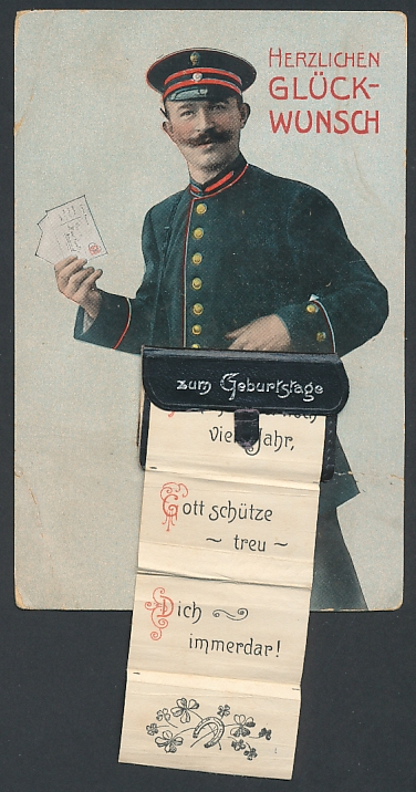 Leporello-AK Briefträger mit Geburtstagsglückwünschen in der Posttasche, Zu diesem festlich frohen Tag...