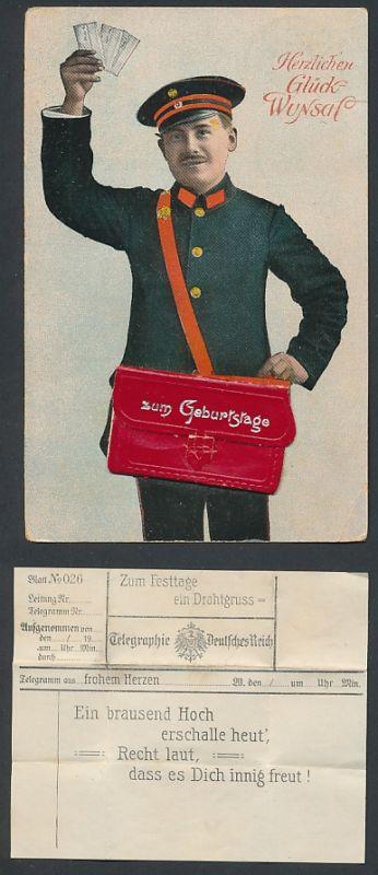 Leporello-AK Briefträger mit Geburtstagsglückwunsch-Telegramm in der Posttasche