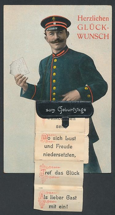 Leporello-AK Briefträger mit Geburtstagsglückwünschen in der Posttasche, Freundesgrüsse, helle Freudenklänge...