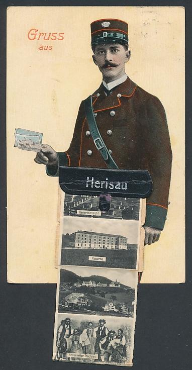 Leporello-AK Herisau, Briefträger mit Ansichten in der Posttasche, Kaserne, Neuer Bahnhof