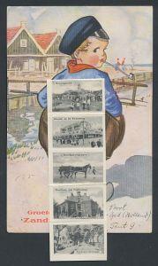 Leporello-AK Zandvoort, Holländer mit Ansichten hinterm Hosenboden, Station, Strandgezicht