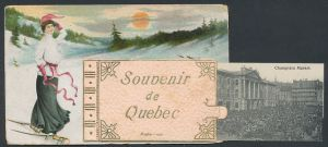 Leporello-AK Quebec, Frau mit Schneeschuhen, Montcalm Market, St. John Street