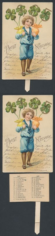 Mechanische-AK Neujahrsgruss, Knabe mit Jahreszahl 1905 auf Klee, Portemonnaie-Kalender 1905 als Einschub