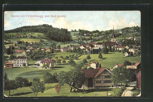 Relief-AK Teufen, Panorama mit Fröhlichsegg und Bad Sonder