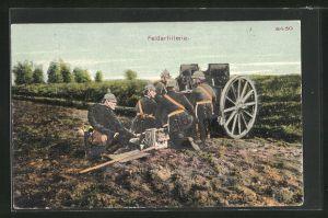 Künstler-AK Bruno Bürger & Ottillie Nr. 8430: Feldartilleriesoldaten in Uniformen mit Kanone