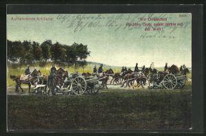 Künstler-AK Bruno Bürger & Ottillie Nr. 8503: Auffahrende Artillerie, Soldaten in Uniformen mit Kanonen