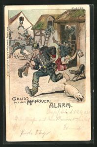 Künstler-Lithographie Bruno Bürger & Ottillie Nr. 6295: Alarm, Gruss aus dem Manöver, Soldatenhumor