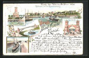 Vorläufer-Lithographie Holtenau, 1895, Leuchtturm bei Holtenau, Kanalmündung, Hochbrücke der Levensau, Schleuse