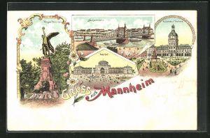 Lithographie Mannheim, Krieger Denkmal, Bahnhof, Neckarbrücke