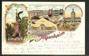 Lithographie Mannheim, Bahnhof, Neckarbrücke, Krieger Denkmal