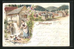 Lithographie Friedrichroda, Ortsansicht, Bäuerin füttert Enten an der Schauenburgmühle