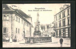 AK Bad Mergentheim, unterer Marktplatz mit Kiliansbrunnen