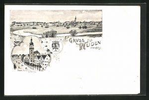 Lithographie Weiden / Oberpfalz, Gesamtansicht, Oberer Marktplatz mit Kirche
