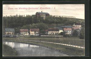 AK Hirschfelde i.S., Ortsansicht mit Weinberg-Restaurant
