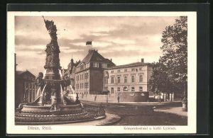 AK Düren /Rhld., Kriegerdenkmal und kathol. Lyzeum