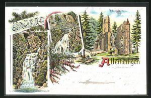 Lithographie Allerheiligen / Schwarzwald, Blick auf alte Kloster-Ruine und Wasserfall