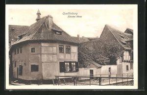 AK Quedlinburg, Ältestes Haus am Strasseneck Wordgasse