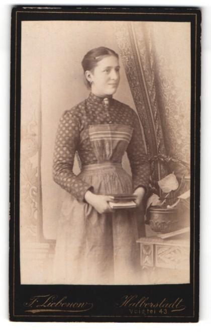 Fotografie Franz Liebenow, Halberstadt, bürgerliche Frau mit Buch