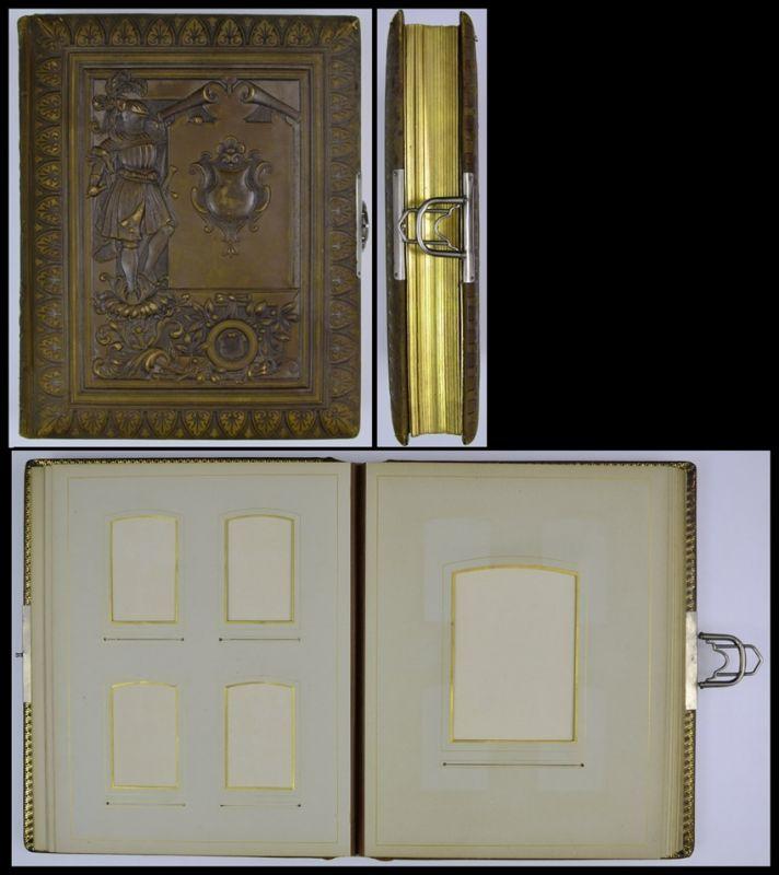 Fotoalbum geprägter Ledereinband m. Ritter & Wappenkatusche, Metallschliesse, 32 Seiten Goldschnitt für CDV-Kabinettfotos
