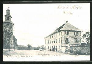 AK Frankfurt-Bergen, Gasthaus zur schönen Aussicht