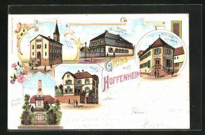 Lithographie Hoffenheim, Handlung von J. Dahlem, Früheres Schoss, Ev. Kirche, Pfarrhaus, Kriegerdenkmal