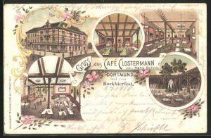 Lithographie Dortmund, Cafe Clostermann, Innen- und Aussenansichten