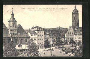AK Jena, Marktplatz mit Kurfürstendenkmal und Bismarckbrunnen