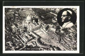 AK Vatikan, Petersdom vom Flugzeug aus, Bildnis Papst Pius XI.
