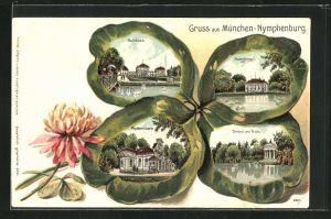 Passepartout-Lithographie Kleeblatt, München-Nymphenburg, Schloss Radenburg und Tempel am Teich