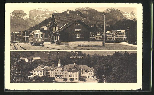 AK Weissbad, Säntisbahn kommt an der Haltestation an