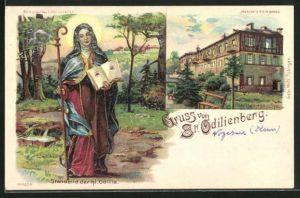 Lithographie St. Odilienberg, Standbild der hl. Odilia, Wallfahrtskirche, Halt gegen das Licht