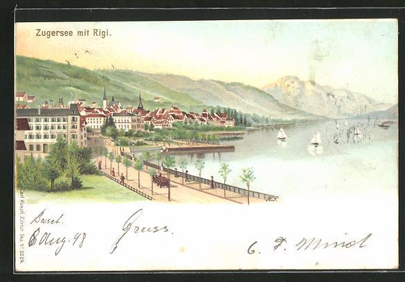 Lithographie Zugersee, Panorama mit Rigi und Berg mit Gesicht / Berggesichter