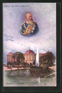 Künstler-AK Ermenegildo Antonio Donadini: Würzburg, Residenz, Portrait Prinzregent Luitpold