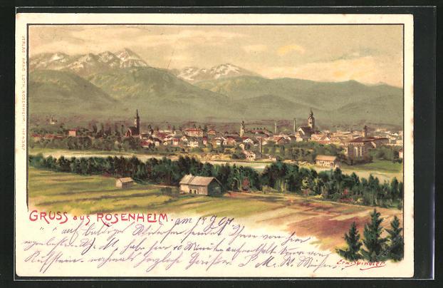 Künstler-Lithographie Erwin Spindler: Rosenheim, Panorama gegen die Alpen