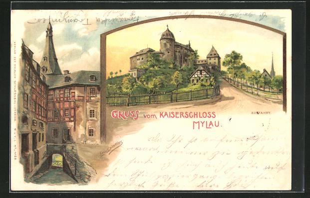 Künstler-Lithographie Erwin Spindler: Mylau, Kaiserschloss, Auffahrt und weiteres Motiv