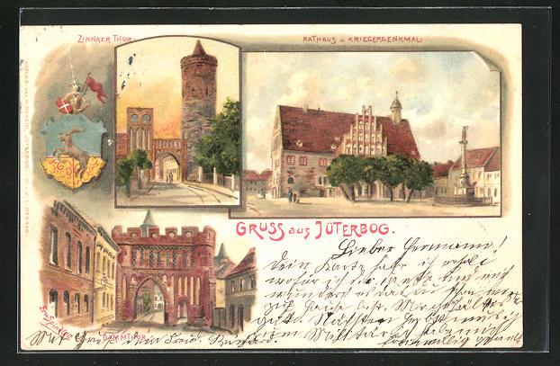 Künstler-Lithographie Erwin Spindler: Jüterbog, Zinnaer Tor, Rathaus und Kriegerdenkmal, Dammthor
