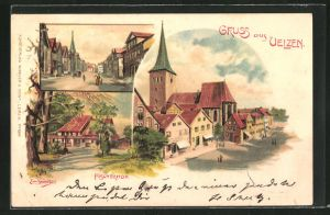 Künstler-Lithographie Erwin Spindler: Uelzen, Fischerhof und zwei weitere Motive