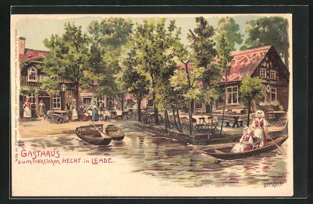 Künstler-Lithographie Erwin Spindler: Lehde, Gasthaus zum fröhlichen Hecht