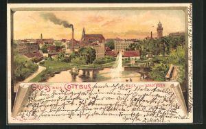 Künstler-Lithographie Erwin Spindler: Cottbus, Blick vom Stadtpark