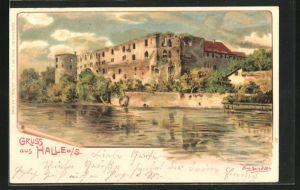 Künstler-Lithographie Erwin Spindler: Halle / Saale, Moritzburg