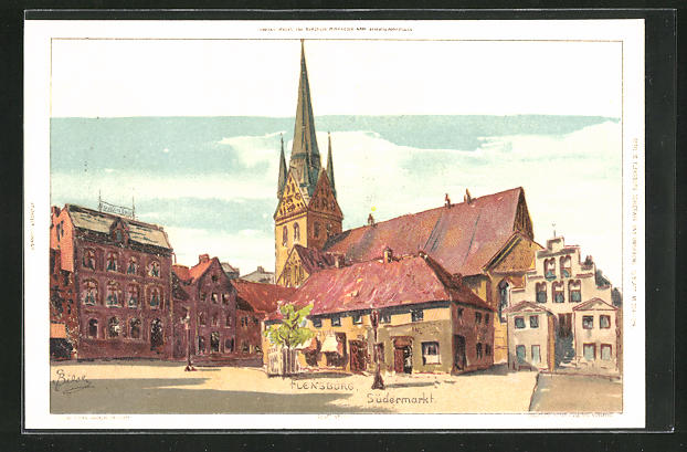 Künstler-Lithographie Carl Biese: Flensburg, Südermarkt