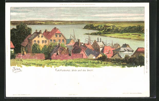 Künstler-Lithographie Carl Biese: Flensburg, Blick auf die Bucht
