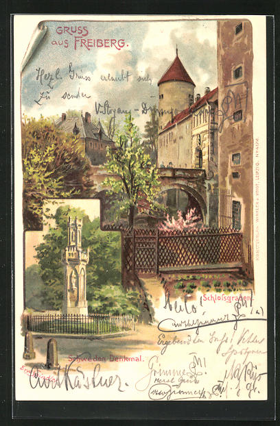 Künstler-Lithographie Erwin Spindler: Freiberg, Schlossgraben und Schweden-Denkmal