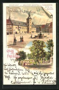 Künstler-Lithographie Erwin Spindler: Freiberg, Obermarkt mit Brunnen-Denkmal des Markgrafen Otto, Albertpark
