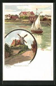 Künstler-Lithographie Carl Biese: Heikendorf, Laboe, Windmühle