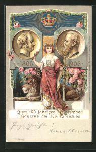 Präge-Lithographie Prinzregent Luitpold zum 100 jährigen Bestehen Bayerns als Königreich